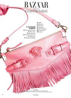 #VersaceEditorials - A pink 'n' bold attitude. Harper's Bazaar Russia - May 2015 #Versace #VersacePalazzoBag