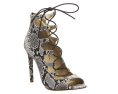 Office Parisian Lace Up Ghillie Sandal Natural Snake Leather - High Heels