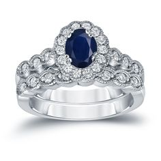 Auriya 14k Gold 1ct Oval Cut Blue Sapphire and 3/5ct TDW Diamond Halo Bridal Ring Set (H-I, SI1-SI2) (Yellow Gold - Size 9), Women's