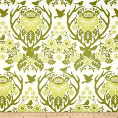 Joel Dewberry Birch Farm Home Decor Sateen Antler Damask Sage from @fabricdotcom  Screen printed on cotton sateen; this medium weight fabric is very versatile. This fabric is perfect for window treatments (draperies, valances, curtains, and swags), bed skirts, duvet covers, pillow shams, accent pillows, tote bags, aprons, slipcovers and upholstery. Colors include sagey olive and off white.