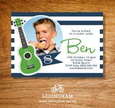 Guitar Birthday Party Invitations Personalised by LedinghamShop