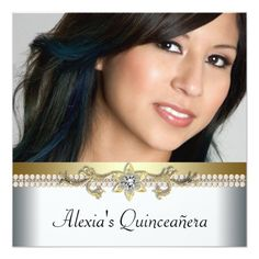 Elegant Gold and White Photo Quinceanera Card