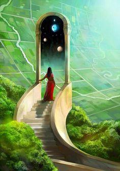 Gateworld - A gallery-quality illustration art print by Julie Dillon for sale. Art Visionnaire, Fantasy Kunst, Visionary Art, Sci Fi Art, Surreal Art, Fantasy World, Fantasy Places, Cool Art, Concept Art