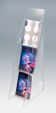 Lightweight Brochure Stand. Ideal as a literature dispenser for the retail environment. The compact brochure rack has a small footprint creating a valuable area for display.