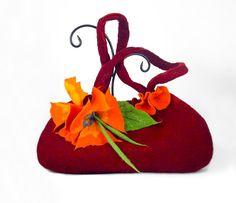 Felted Bag Flower Purse Nunofelt Bag Art Handbag Art bag Felt Nuno felt Silk red ruby burgundy fairy floral fantasy shoulder bag Fiber Art
