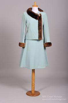 Vintage Mother of the Bride Dresses      1960's Custom Beaver Trimmed Wool Gabardine Vintage Ensemble : Mill Crest Vintage