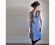 Organic Cotton Dress, Cowl Neck, Sleeveless Tunic, Lavender Grey, Rib Knit, Knee Length, Jersey Tank Dress, Custom Made