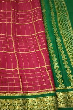 Pink Checks Handloom Mysore... Crepe Silk Sarees, Silk Crepe, Pink Fabric, Woven Fabric, Mysore Silk Saree, Kurti, Color Schemes, Sewing, R Color Palette