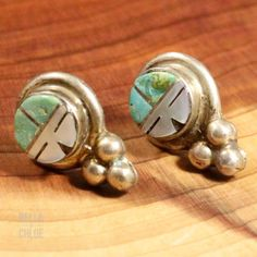 Sterling Silver - ZUNI Turquoise Sun Face 3.6g - Stud Earrings PN5041