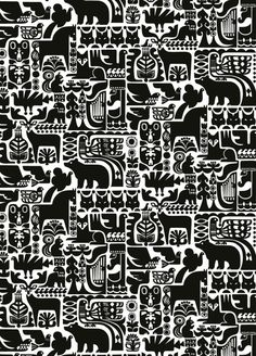 Marimekko Kanteleen Kutsu cotton fabric,2 yards, white black, animals Finland | eBay