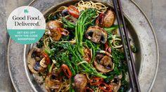 Teriyaki mushrooms with kale, broccolini and soba noodles.
