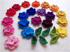 cute crocheted flowers.  I think this would be great for finishing a hat for a little girl.