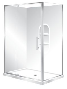 Features one piece acrylic lining with moulded shelf , Low profile tray with 40mm upstand. 1950mm high glass 6mm safety glass. Polished quality metal chrome handle, inner and outer 2 Panel Sliding Door is reversible to open left to right or right to left. high quality quick release rollers, Available in White and Silva
