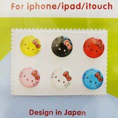 """6 pcs Happy Cat """"Home"""" Button Sticker for iPhone / iPod / iPad"""
