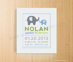 Modern Elephant Birth Print, Adoption Print, Baptism Print. $20,00, via Etsy.