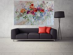 Large Art Big Painting Large Poster Flowers Oil Painting Peonies Roses Lilac Ginger Red Blue Turquoise Cipria Art Cottage Home Wall Print Ha Cherry Blossom Wallpaper, Oil Painting Flowers, Large Art, Lilac, Love Seat, Etsy, Big, Unique Jewelry, Handmade Gifts