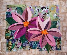 Clematis floral art quilt by Kim Butterworth, featured at See How We Sew Butterworth, Small Quilts, Mini Quilts, Flower Quilts, Fabric Flowers, Art Floral, Quilting Projects, Quilting Designs, Quilting Ideas
