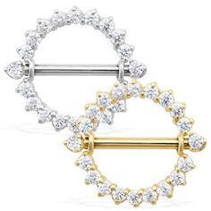 14K Real Gold (Nickel Free) Internally Threaded Nipple Ring Shield
