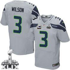 401b5942e Men s Nike Seattle Seahawks Russell Wilson Elite Grey Alternate C Patch NFL  Jersey