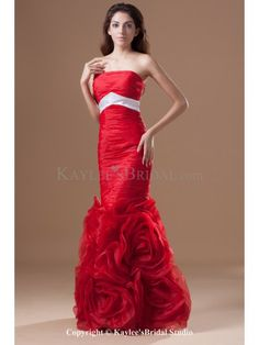 Taffeta Strapless Floor Length Sheath Directionally Ruched Prom Dress