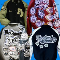 Customized Varsity Letterman Jackets Made by Delong, the oldest name in Varsity Award Letterman jackets! Customized Varsity Letterman Jackets Made by Delong, the oldest name in Varsity Award Letterman jackets! Custom Letterman Jacket, Varsity Jacket Outfit, Varsity Letterman Jackets, Old Names, Cut And Color, Graphic Sweatshirt, Bb, Velvet, Football