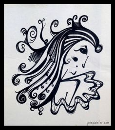'Lolita' Ink on paper drawing, Jane Painter True talent! Paper Drawing, Arabic Calligraphy, Ink, Drawings, House, Ideas, Home, Sketches, India Ink