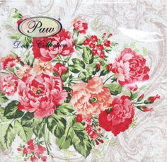 Untamed wild red roses on a paper napkin for decoupage. Use for all your decoupage projects. Buy your decoupage supplies at Decoupage Designs USA Paper Napkins For Decoupage, Decoupage Vintage, Red Flowers, Pink Roses, Party Napkins, Craft Party, Floral Fabric, Vintage Pink, Vintage Table