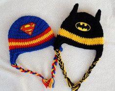 hat crochet superhero | Superhero Superman OR Batman inspir ed crochet hat ...:
