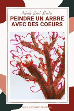 Peindre un arbre avec des coeurs pour la saint valentin - Activité manuelle et créative pour les enfants et les adultes sur le thème de la saint valentin. Un bricolage maternelle autour de l'amour et du love en réalisant un coeur à la peinture. Un arbre rempli de coeur avec un tampon créé avec un rouleau de papier toilette. Une activité pour les plus petits et les plus grands. Activité à la peinture. Un arbre de saisonde l'amour. Rdv sur le blog Le Carnet d'emma - lecarnetdemma Blog, Painted Trees, Blogging