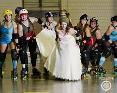 When it came time to do a bridal shoot, roller derby athlete Pinky La Pain chose to incorporate her longtime passion as a member of the Greensboro Roller Derby League.
