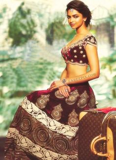 Deepika Padukone in maroon designer lehenga