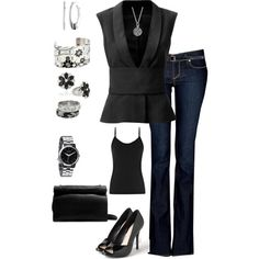 Black & Silver going out - Polyvore