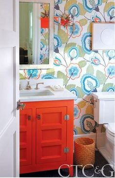 colorful bathroom vanities - orange vanity from Cottages & Gardens