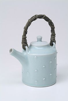 Ceramics by Chris Keenan at Studiopottery.co.uk - Celadon teapot, height 21cm. Produced in 2003.