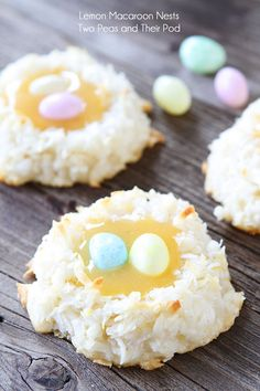 Click Pic for 35 Easter Dessert Recipes - Coconut Lemon Macaroon Nests - Easter Food Ideas Holiday Treats, Holiday Recipes, Recipes Based On Ingredients, Just Desserts, Delicious Desserts, Lemon Macaroons, Macarons, Yummy Treats, Sweet Treats