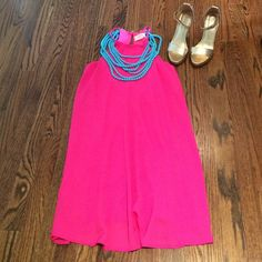 Everly Swing Dress Summer fun comfortable and trendy swing dress, by Everly. Size XS. The color is fuchsia. NWT, Purchased from Nordstroms. The necklace and shoes are not included. If you have interest in the necklace as well, pls let me know.  Fully lined. The Shell and Lining are 100% Polyester. No Trades. Everly Dresses