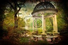wall mural vintage victorian garden scene aged pixersize seamless pattern