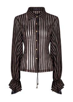 Chemise noire et marron transparente rayée avec laçage au dos, steampunk, Punk Rave > STEAMPUNK STORY - PUNKR0414