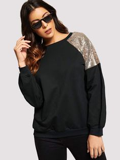 Shop Contrast Sequin Cut And Sew Panel Sweatshirt online. SHEIN offers Contrast Sequin Cut And Sew Panel Sweatshirt & more to fit your fashionable needs. Fashion Advice, Fashion News, Style Fashion, High End Fashion, Sewing Clothes, Classy Outfits, Style Guides, Autumn Fashion, Fashion Dresses
