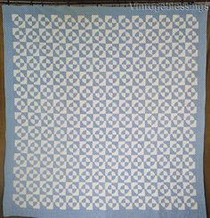 Fantastic Tiny Pieces! Vintage 30s Blue & White Steeplechase QUILT 78x74""