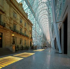 Brookfield Place by Roland Shainidze on - Toronto, Ontario. This is an interesting mix between historical and modern architecture. Architecture Photo, Amazing Architecture, Modern Architecture, Santiago Calatrava, Ontario, Atrium Design, Banks Office, Brookfield Place, Great Lakes Region