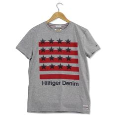 Stars And Stripes 32 Light Grey Heather T-Shirt ($39) ❤ liked on Polyvore featuring men's fashion, men's clothing, men's shirts, men's t-shirts, mens star wars t shirts, tommy hilfiger mens shirts, mens striped shirt, mens graphic t shirts and mens star shirt