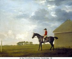 Gimcrack with John Pratt on Newmarket Heath, c.1765 by George Stubbs. Gimcrack, was one of the most famous racehorses of the 18th century. Right, is the rubbing down house where the animals would be dried with straw after racing. Previous horse painters concentrated on recording distinctive markings, Stubbs wanted his portraits to capture the unique character of each animal. Here Gimcrack and his jockey are enjoying a quiet moment removed from the stir of the racecourse. (c) Fitzwilliam…