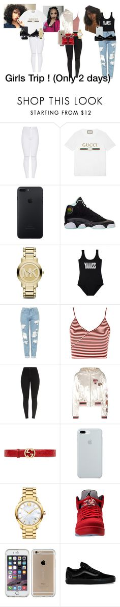 """""""Me and My Girls"""" by queensetter ❤ liked on Polyvore featuring Gucci, Michael Kors, Minga, Topshop, Tommy Hilfiger, ETUÍ, Movado, Speck and Vans"""
