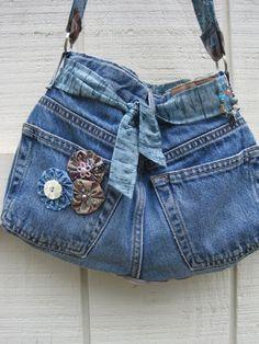 Boho purse denim tote denim shoulder bag upcycled by ShabyVintage, $25.90