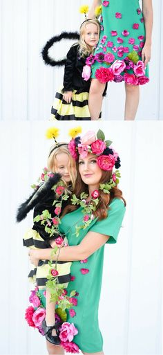 Creative Mom and Daughter Halloween Costumes - Bee and Field of Flowers