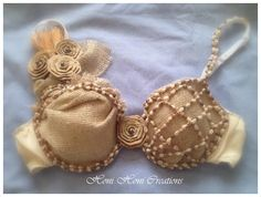 Tahitian Bra top costume with Straps size 36 B with a Natural look and feel. Brand new never used.. $60.00, via Etsy.