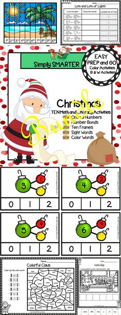 Are you looking for EASY PREP literacy and math activities for preschool, kindergarten, or first grade? Then enjoy this phonics and math resource which is comprised of TEN different CHRISTMAS themed activities complete with a combination of color and black and white activities. The bundle includes a variety of engaging activities. The activities can be used for whole class fun, literacy and math centers, partner collaboration, individual practice, or homework!