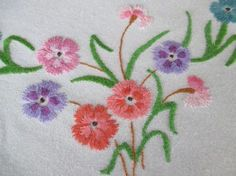VINTAGE TABLECLOTH with HAND EMBROIDERED CARNATIONS