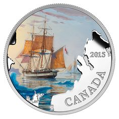 1 oz. Fine Silver Coloured Coin - Lost Ships in Canadian Waters: Franklin's Lost Expedition - Mintage: 7,000 (2015)